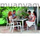 Harmony műanyag kerti asztal 6 db karfanélküli székkel