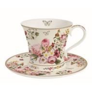 R2S.1354BLOC Porcelán teáscsésze aljjal dobozban 180ml, Blooming Opulence cream