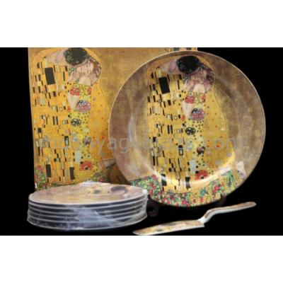 P.P.W4A27-16601 Porcelán süteményes készlet lapáttal 6 személyes,( 27cm,19cm ) Klimt:Kiss