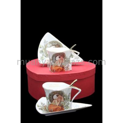 P.P.W3S34-12433 Kávés csésze+alj háromszögű, kanállal, 2 személyes, porcelán,150ml, Mucha:Topáz