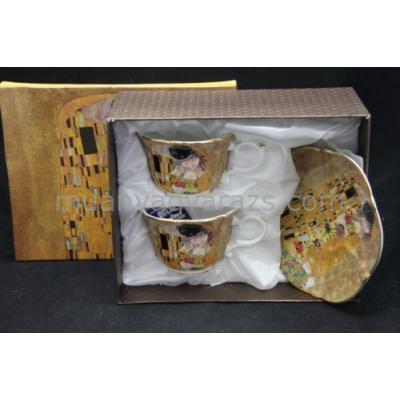 P.P.W3A02-21619 Porcelán csésze+alj 2 személyes, 150ml, Klimt:The Kiss