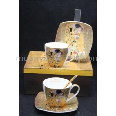 P.P.W3A17-24658 Porcelán csésze+alj,2 személyes, 225ml, Klimt:The Kiss