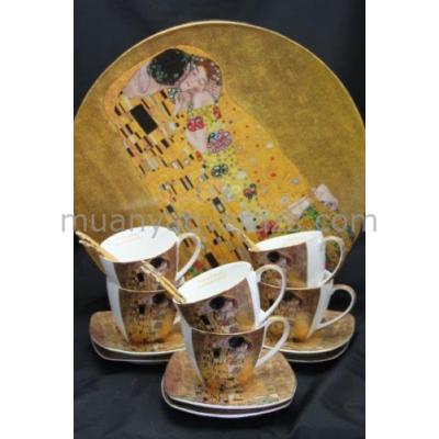 P.P.W3A18-24665 Porcelán csésze+alj kanállal,6 személyes, 225ml, Klimt:The Kiss