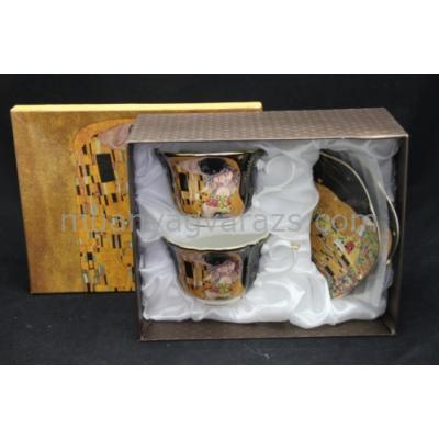 P.P.W3B02-24696 Csésze+alj, 2személyes,porcelán, Klimt: The Kiss, fekete,150ml