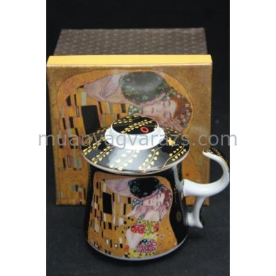 P.P.W3B19-24801 Porcelán bögre fekete,tetővel,szűrővel, 350ml Klimt:The Kiss