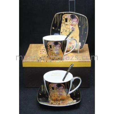 P.P.W3B17-35357 Porcelán csésze+alj kanállal,2 személyes,225ml Klimt:The Kiss,fekete