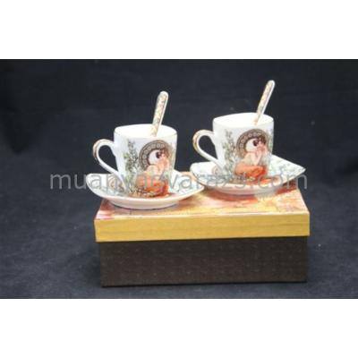 P.P.W3S06-35630 Presszós csésze+alj szögletes 100ml, 2 személyes,kanállal,porcelán,Mucha:Topáz fehér