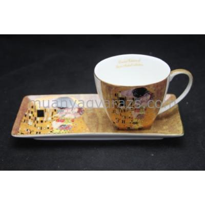 P.P.W4A42-16469 Porcelán csésze 225ml, hosszú tálcával,Klimt:The Kiss