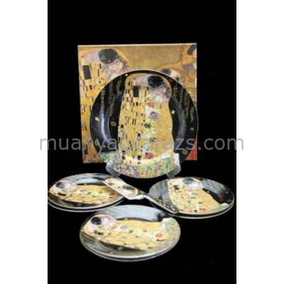 P.P.W4B27-16513 Süteményes készlet lapáttal,6 személyes(27cm,19cm), Klimt:The Kiss