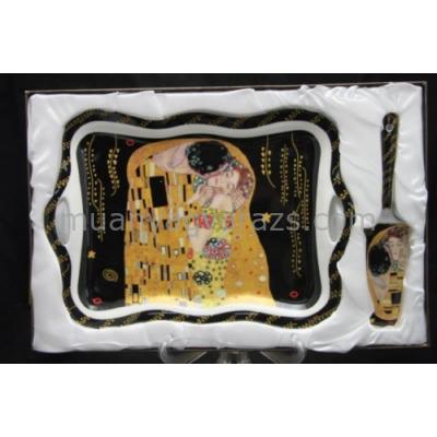 P.P.W4B29-16520 Porcelán tálca 35x24cm,lapáttal,Klimt:The Kiss