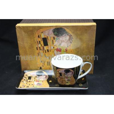 P.P.W4B42-16582 Porcelán csésze hosszúkás aljjal,Klimt:The Kiss