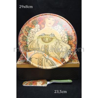 P.P.W4P28-17039 Süteményes tál lapáttal,Mucha:Merengés