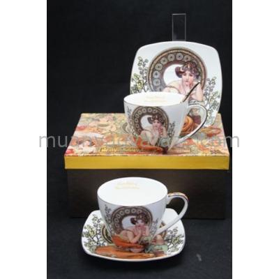 P.P.W4S17-42864 Csésze+alj szögletes, kanállal, 2 személyes, porcelán, Mucha:Topáz