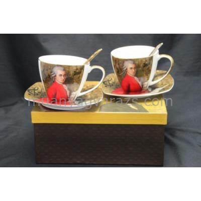 P.P.W5MZ17-11508 Porcelán csésze + alj kanállal, 2 személyes 225ml, Mozart