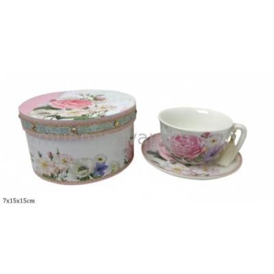 P.P.P77-06603 Porcelán teás csésze+alj kartondobozban fehér-rózsaszín rózsás