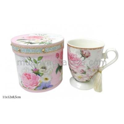 P.P.P77-06726 Porcelán bögre dobozban,rózsás,11x12x8,5cm