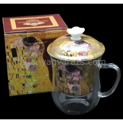 P.P.W6A49-11413 Üveg pohár porcelán szűrővel,tetővel 400ml,Klimt:The Kiss