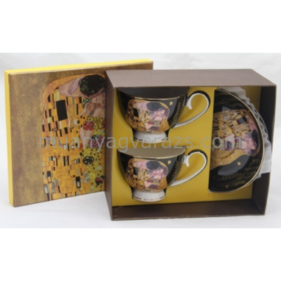 P.P.W6B56-11574 Porcelán csésze + alj, 2 személyes, 250ml, Klimt: The Kiss