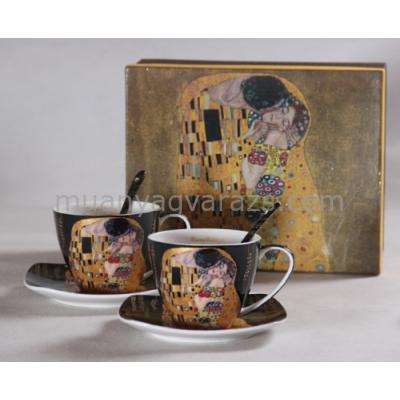 P.P.W6B60-11598 Porcelán csésze+alj 200ml  kanállal 2 személyes, Klimt:The Kiss