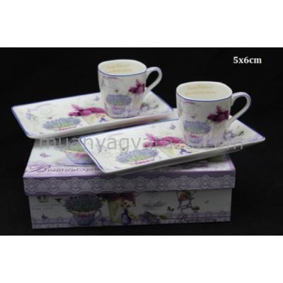 P.P.W6D463-12205 Porcelán csésze oldaltálcával,2 személyes,100ml,lavender,dobozban