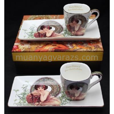 P.P.W6S163-17057 Porcelán csésze 50ml oldaltálcával,2 személyes,Mucha:Smaragd