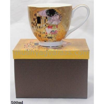 P.P.W7A85-17634 Porcelán bögre 500ml,Klimt:The Kiss
