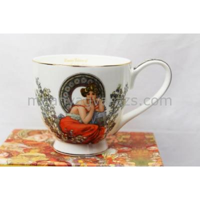 P.P.W7S85-18662 Porcelán jumbo  csésze 500ml,Mucha: Topáz