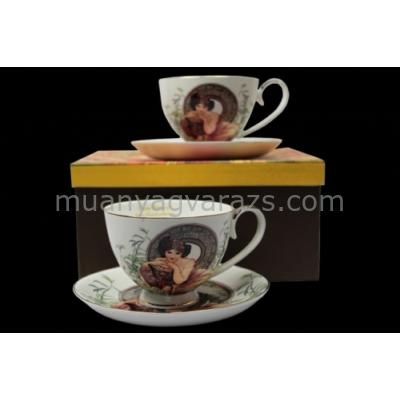 P.P.W7S156-01138 Porcelán csésze+alj 2 személyes,250ml,Mucha: Smaragd