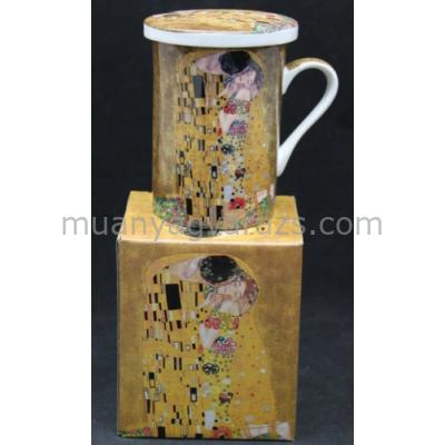P.P.W7A77-00209 Porcelán bögre tetővel,szűrővel,275ml,Klimt:The Kiss