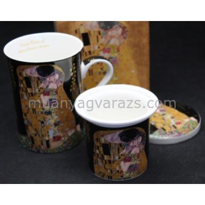 P.P.W7B77-00308 Porcelán bögre szűrővel,tetővel,275ml,Klimt:The Kiss,fekete