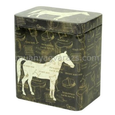 T.M.5753100 Horse Black konyhai fémdoboz 116x81x116mm