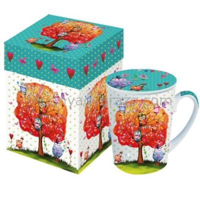 PPD.M602399 Porcelán bögre tetővel 0,25l dobozban,Owls favourite Tree