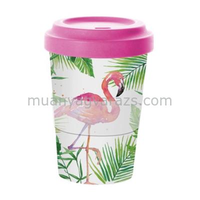 PPD.M603339 Bambusz utazó bögre tetővel 0,4l, szilikon gyűrűvel,Tropical Flamingo