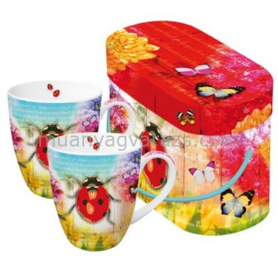PPD.P602454 Porcelán bögre 0,35l dobozban 2db-os,Ladybug & Flowers