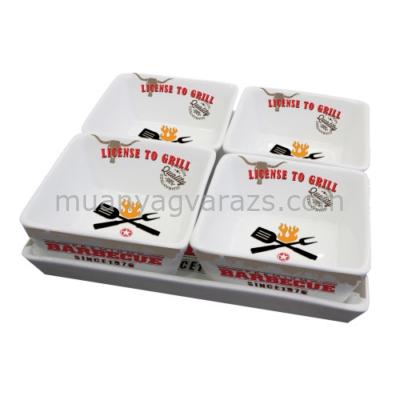 PPD.S602529 Porcelán tál+4db tálka 9,5x9,5cm,szett,License To Grill