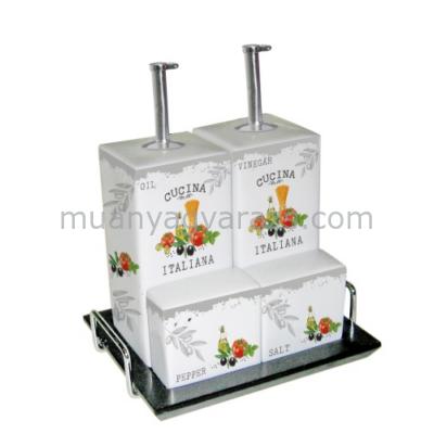 PPD.R602537 Porcelán só-bors,olaj-ecet asztali szett tálcán,13x15cm,Cucina Italiana