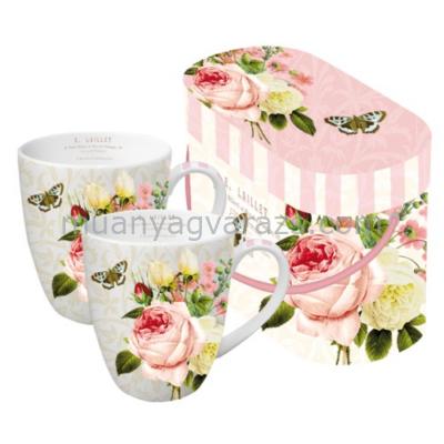PPD.P600897 Porcelán bögre 0,35l dobozban 2db-os,Jardin Rose