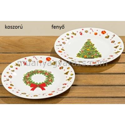 B.B.83059 Porcelán desszerttányér klasszikus karácsonyi koszorú/karácsonyfa 20cm