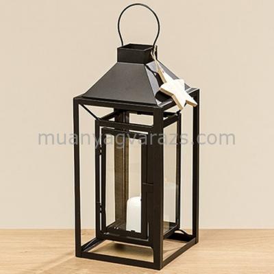 B.B.1008446 Lanternben lanter,fekete fém,üveggel 36cm