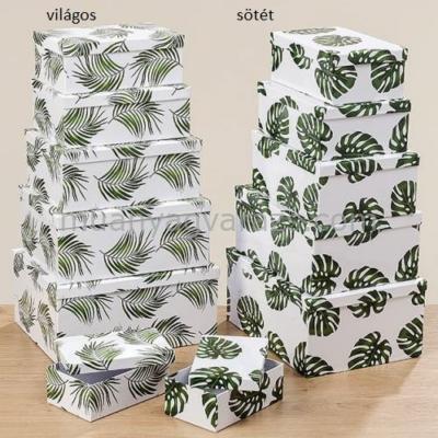 B.B.1010743 Karton doboz szett zöld leveles S/6, 18-31cm