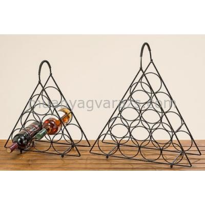 B.B.1005425 Fekete fém háromszögű bortartó szett S/2 36-45cm