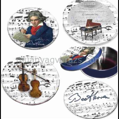 FRI.17951 Poháralátét fém-parafa 4db-os szett dia 9,5cm,fémdobozban,Beethoven