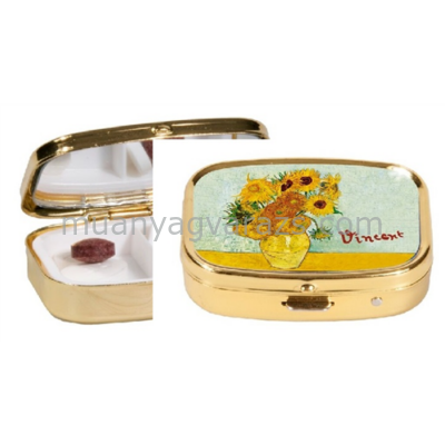 FRI.18242 Gyógyszeres fémdoboz 5,1x1,8x3,6cm,Van Gogh:Napraforgók