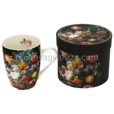 D.G.11364 Porcelán bögre dobozban,375ml,Bukiet