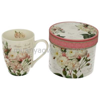 D.G.11388 Porcelán bögre dobozban,375ml,White Rose