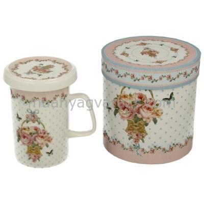 D.G.11531 Porcelán bögre tetövel,porcelán szűrővel,dobozban,320ml,Watson