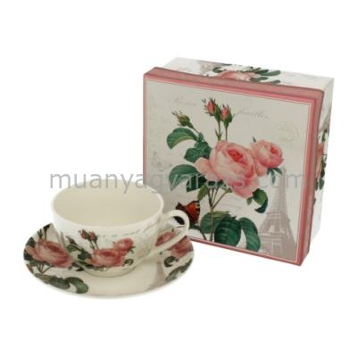 D.G.11579 Porcelán kávéscsésze+alj 250ml,dobozban,Pink Rose