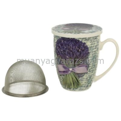 D.G.12897 Porcelán bögre tetővel,fém szűrővel,levendula csokros,lila masnival,320ml