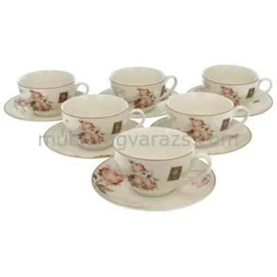 D.G.10084A Porcelán teáscsésze+alj 250ml,6 személyes dobozban,Secesja