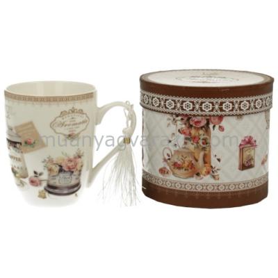 D.G.00306 Porcelán bögre dobozban,375ml,Romantic